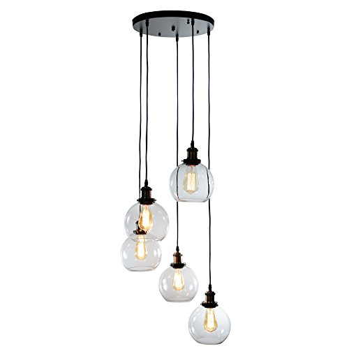 Warehouse of Tiffany LD4683-5 Deeni 5-Light Edison Five Pendant Lamp with Adjustable Length (Includes Bulb) (Multi Pendant Light Fixture)