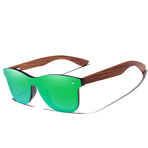 Bamboo Wood Polarized Sunglasses- Ultra-Light Maple Frame, Mirror Lenses,The Best Choice For Men & Women Travelers! (Green) - Maple Oval Mirror
