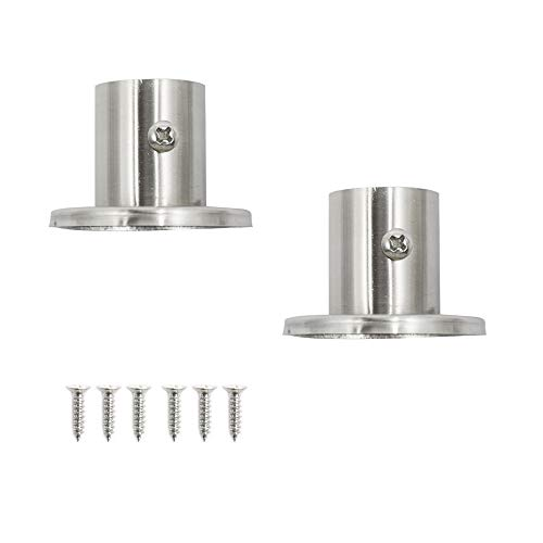 Cyful Pipe Tube Weld Neck Flange Stainless Steel 19mm Diameter Silver Tone for Wardrobe with Screws -(2 Pcs)