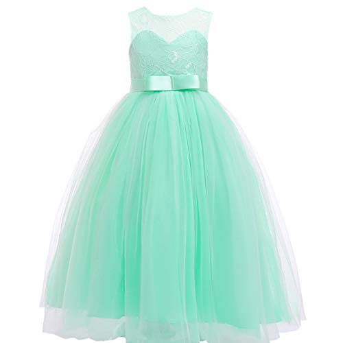 Mint Long (Glamulice Girls Lace Bridesmaid Dress Long A Line Wedding Pageant Dresses Tulle Party Gown Age 3-16Y (3-4Y, Mint))