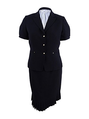 Tahari by Arthur S. Levine Women's Petite Size Short Sleeve Skirt Suit, Black 0P -