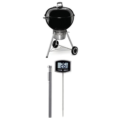 Weber 14401001 Original Kettle Premium Charcoal Grill, 22-Inch, Black and Thermometer Bundle