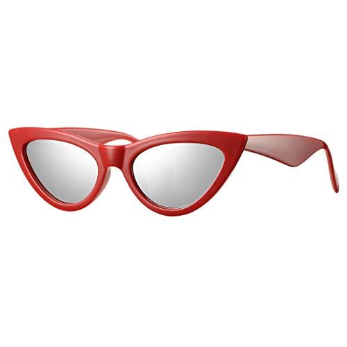 Retro Small Cateye Sunglasses for Women Fashion Mirror UV400 Protection Narrow Slim Cat Eye Sun Glasses(Red Frame/Silver Mirror -