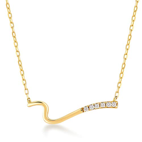 Diamond Wave Pendant - GELIN 14k Yellow Gold 0,02 ct Diamond Wave Bar Pendant Chain Necklace for Women,18