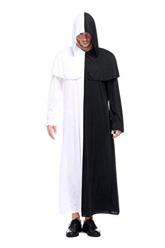GoLoveY Unisex Black and White Hooded Robe Tunic Halloween Costume (Men)