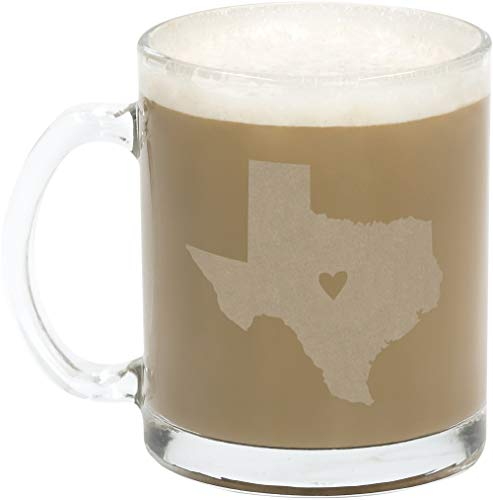 About Face Designs Love Texas Silhouette Frosted State Clear 10.5 oz. Glass Mug Set of 2