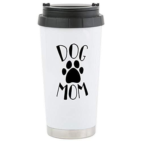 CafePress Dog Mom Paw Stainless Steel Travel Mug, Insulated 16 oz. Coffee Tumbler