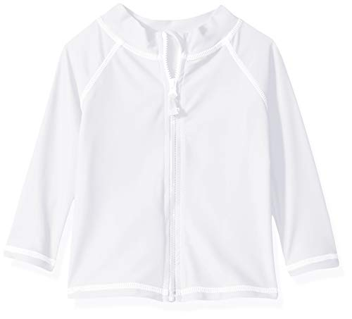 (Flap Happy Baby UPF 50+ Zip Front Swim Jacket, White, 12M )