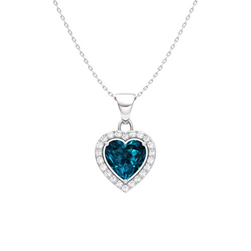 Diamondere Natural and Certified London Blue Topaz and Diamond Heart Petite Necklace in 14k White Gold | 0.51 Carat Pendant with ()