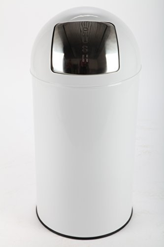 point-home Mülleimer Abfalleimer PUSH 52 L Stahl weiss lackiert