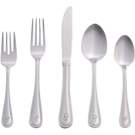 Classic Versatile 46-Piece Monogrammed Flatware - Beaded Pattern Stainless Steel Polished Mirror Finish ()