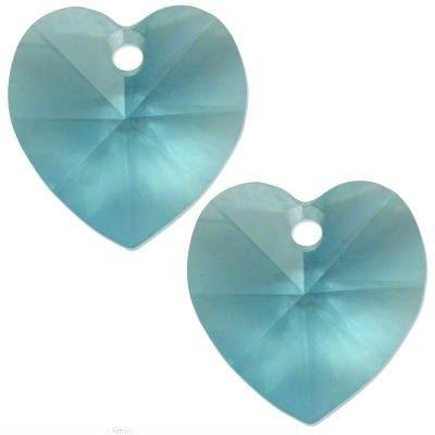 - 2 Aqua Swarovski Crystal Heart Pendant 6202 14mm New