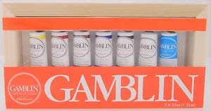 (Gamblin Artist's Oil Colors 7 Tube Set 37ml - 1.25oz in Wooden Canvas Box)