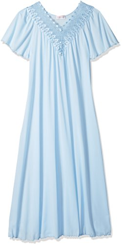 (Shadowline Women's Beloved 53 Inch Flutter Sleeve Long Gown, Blue, Large)