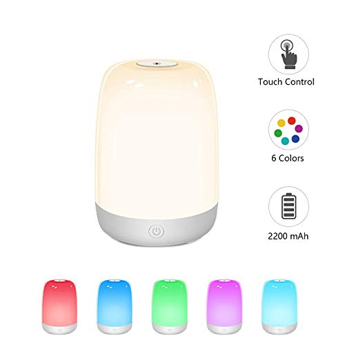 Touch Night Light for Kids, Dimmable Bedside Lamp Rechargeable Nursery Lamp Warm White RGB Color Changing, 72 Hours Runtime for Bedrooms Living Rooms Breastfeeding Sleeping, Best Gift for Kids, Teens