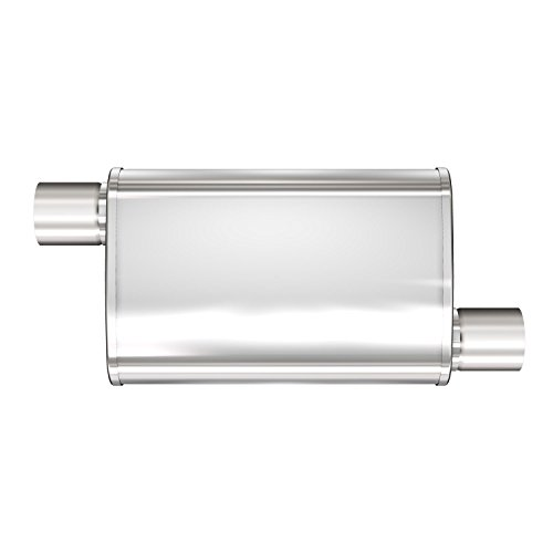 Magnaflow Performance Exhaust 13269 XL 3 Chamber Muffler; 4 x 9 in. Oval Body; 3 in. Inlet/Outlet; 18 in. Body/24 in. Overall Length; Offset/Offset; Satin Stainless Steel;