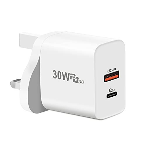 30W USB C Charger, aifulo 2-Port PD 3.0 USB C Fast Charger Plug and QC 3.0 USB Wall Charger Compatible with MacBook, for iPhone 12/12 Mini/12 Pro/12 Pro Max/11/11 Pro/XR/XS/X, Galaxy S21/S20 and More
