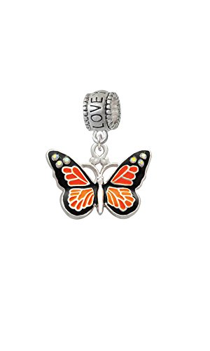 Monarch Butterfly Bead (Silvertone Large Monarch Butterfly with 6 AB Crystals - Love You More Charm Bead)