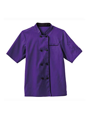 (Five Star Chef Apparel 18028 Women's Short Sleeve Executive Chef Coat Purple XL)