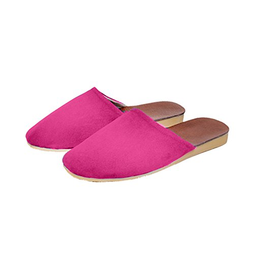 TELLW Summer Spring Autumn Winter Leather Home Slippers Leather Slippers No Damage Floor Mute Women Pink jkaKPsv