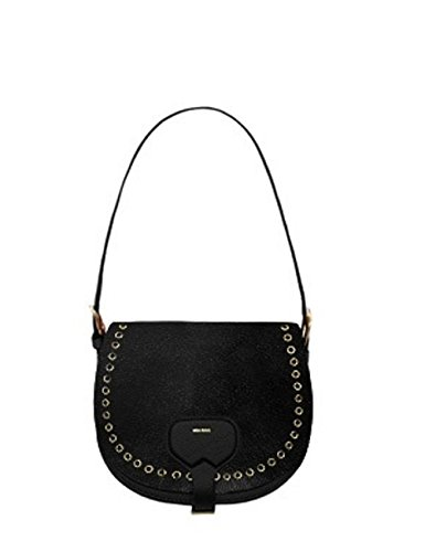 Borsa donna Mia Bag bisaccia leather con occhielli nero cod. 17310L