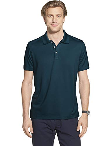 - Geoffrey Beene Men's Slim Fit Short Sleeve Ottoman Solid Polo Shirt, Turquoise Low Tide, Large