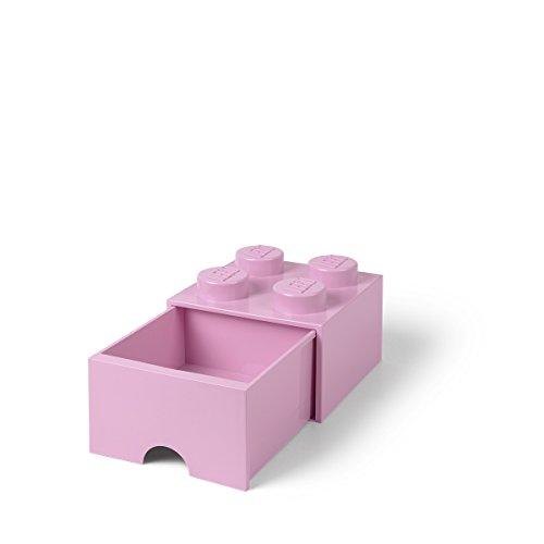 Pink Brick - LEGO Brick Drawer, 4 Knobs, 1 Drawer, Stackable Storage Box, Light Pink