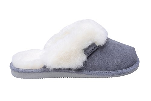 Grey Rusnak Ladies W74 Shoes House Genuine Sheepskin Mule Slippers Leather White Lining Soft Wool 6q6W7nrp