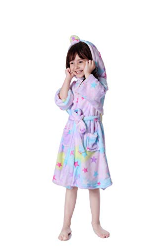 (Lantop Kids Soft Bathrobe Comfy Unicorn Flannel Robe Unisex Hooded Gift All Seasons)