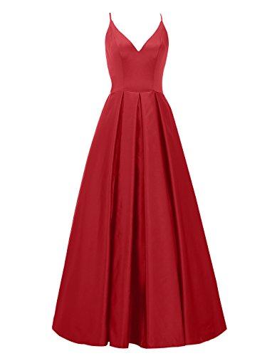Alagirls Des Femmes De Longue Spaghetti Robes De Bal En Satin Bretelles Robes De Soirée De V Cou Rouge Foncé