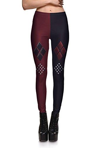 (Lady Queen Women's Batman Harley Quinn Print Stretch Skinny Leggings Pencil Pants S Black)