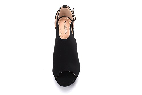 Straps Black Women's Mila Peep Ankle Cutout Lady Platform 2 Side toe Bootie Wedges Lisa ZZx8qO