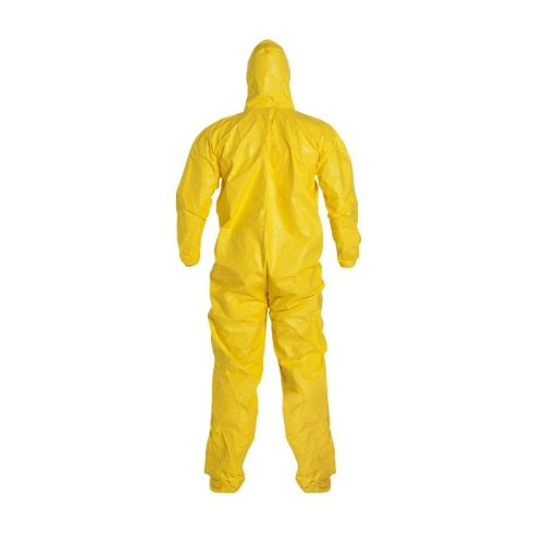 DuPont Tychem 2000 QC122S Chemical Resistant Coverall with Hood and Socks, Disposable, Elastic Cuff, Yellow, 2XL (Pack of 12) by DuPont (Image #2)