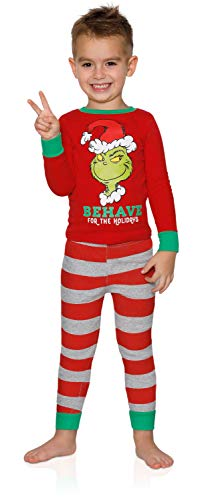 Dr. Seuss The Grinch Behave for The Holidays 2 Piece Boys Cotton Pajama Set, Red, Size 4T