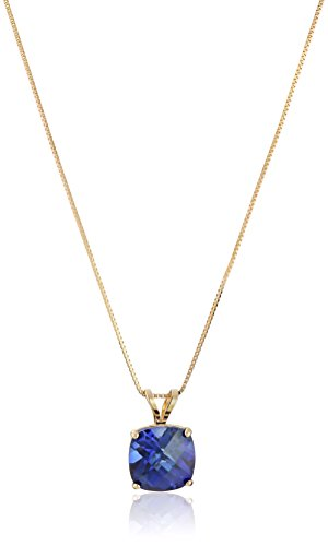 14k Yellow Gold Cushion Checkerboard Created Blue Sapphire Pendant Necklace (8mm)