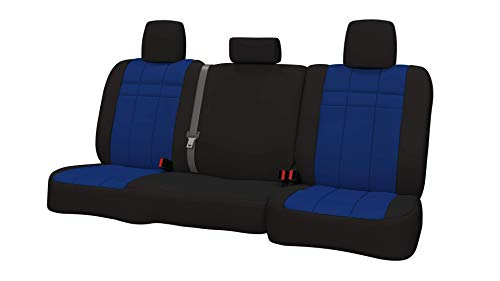 (Rear SEAT: ShearComfort Custom Neoprene-Style Seat Covers for Honda Civic (2016-2019) in Black w/Blue for 60/40 Split Back Solid Bottom w/Molded Headrests (Hatchback))