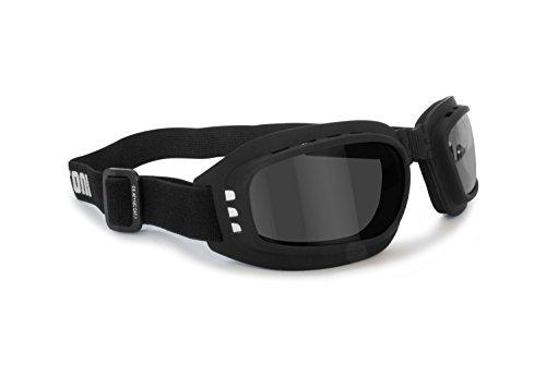Bertoni Motorradbrille mit stoßfesten Gläsern, Antibeschlag, Antibeschlag, verstellbares Gummiband, AF112 (schwarz…