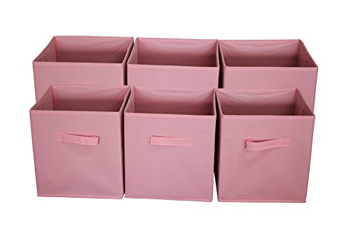 Sodynee Foldable Cloth Storage Cube Basket Bins Organizer Containers Drawers, 6 Pack, Pink