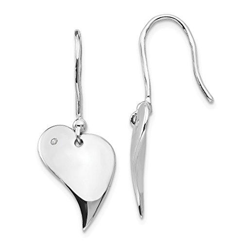 925 Sterling Silver .01ct. Diamond Heart Drop Dangle Chandelier Earrings Love Fine Jewelry For Women Gift Set