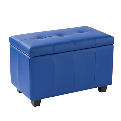 (Porthos Home AT003A BLU Upholstered Arielle Storage Bench Small Blue)