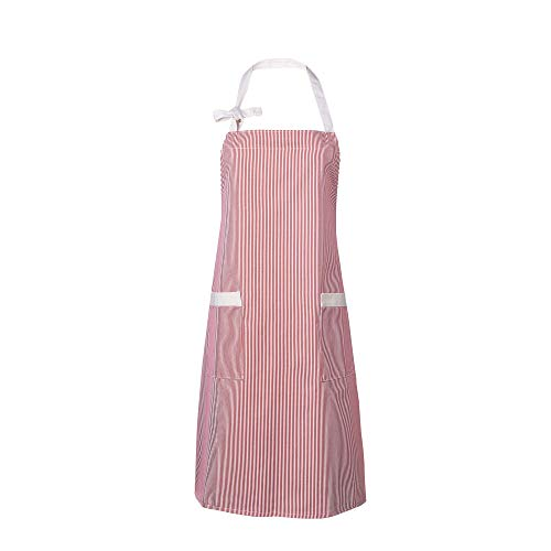 Waitworth 1 Pack Cotton Canvas Bib Apron 2 Pockets Adjustable Neck Strap Apron Cooking Kitchen Crafting Artist Gardening Aprons for Women Men Adults, Red and White Pinstripe