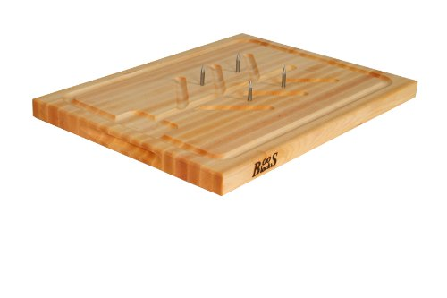 John Boos Block SLIC Reversible Cutting Board with Tree Shaped Moat, Stabilizing Pins and Juice Groove, 20 Inches x 15 Inches x 1.25 -