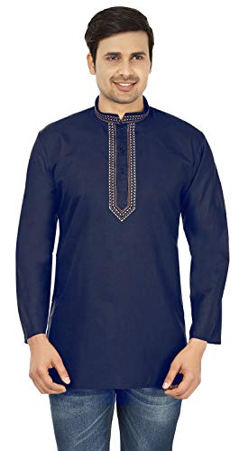 Cotton Dress Mens Short Kurta Shirt India Fashion Clothes (Navy Blue, - Kurta Mens