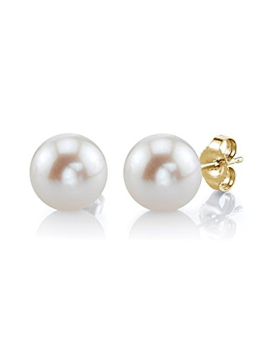 Pearl 9mm Earrings White - THE PEARL SOURCE 14K Gold 8-9mm Round White Freshwater Cultured Pearl Stud Earrings for Women