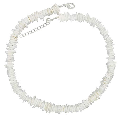 (LEYSTARE White Conch Clam Chips Puka Shell Necklace Collar Choker Hawaii Wakiki Sea Shell Beach Necklace for Girls Women (White, 16))