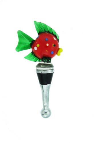 Colorful Tropical Fish Design Wine Stopper (Red & Green) #66