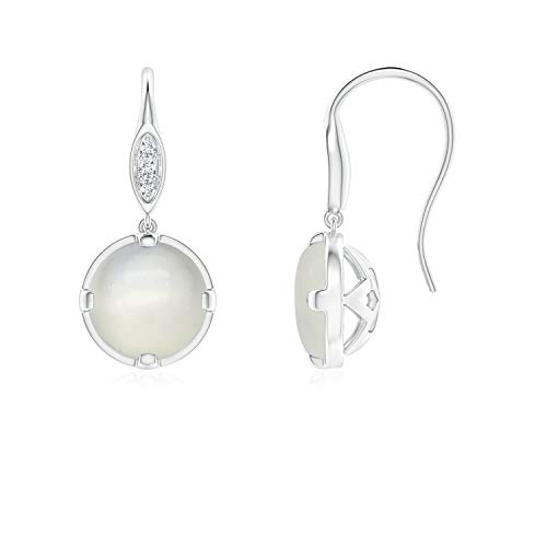 Moonstone Fish Hook Earrings with Diamond Accents in 14K White Gold (6mm Moonstone)