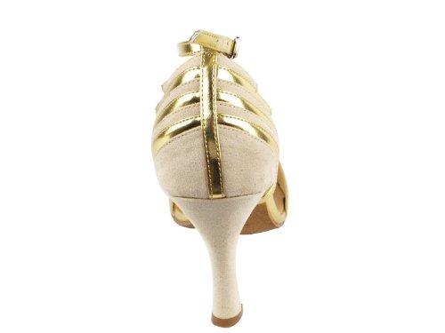 Ladies Women Ballroom Dance Shoes Very Fine EKSA1700 SERA 2.5'' Heel with Heel Protectors (6.5, Beige Nubuck & Gold Trim)