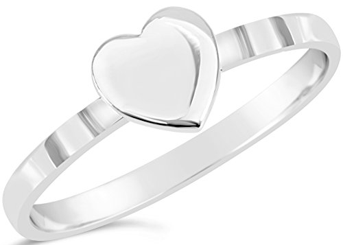 """Love Collection"" Sterling Silver Single Heart Ring Size 8, Includes Product Care (Single Knot Ring)"