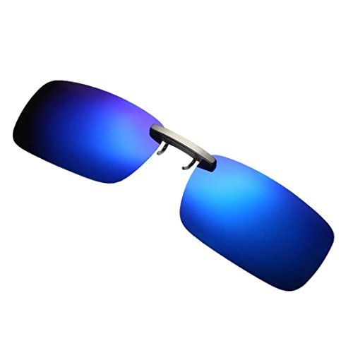 Perman Clip-on Polarized Sunglasses, Unisex Polarized Frameless Rectangle Lens Flip Up Clip on Prescription Sunglasses - For Flip Sunglasses Up Eyeglasses